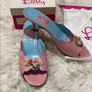 Lilly Pulitzer Nymph Pink Kitten Heel Slides